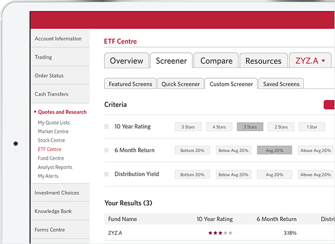 ETF Centre Screener tab with Custom Screener selected.